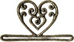 """MHMMH2 Mill Hill Bellpull Antique Gold Filagree Heart Metal Shaped ; 3-1/4"""" opening  2"""" h"""