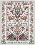LD75 The Love of Two Hearts Stitch Count: 153 x 197 Long Dog Samplers