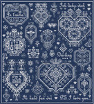 LD65 Mots d'Amour Stitch Count: 211 x 233 Long Dog Samplers