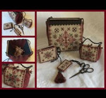 MDD-BRSP Black Ruby Sewing Purse Includes wooden rods Mani Di Donna