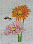 Bee on Gerbera Daisy Needlepoint Unique New Zealand Designs