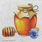 Bee and Honey Jar Needlepoint Unique New Zealand Designs