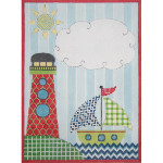 AP3682, Boys Lighthouse Birth Announcement  Alice Peterson 13 Mesh 8.75 x 12  !