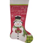 AP2745 Let It Snow Snowman Stocking Alice Peterson 13 Mesh 11 x 19.5 !