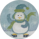 APX289 Chilly Penguin Ornament Alice Peterson 4″ ROUND  13 Mesh  !