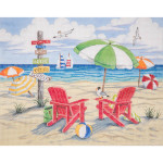 AP2805 Beach Scene Alice Peterson 10 x 8 18 Mesh  !