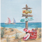 AP2796 Beach with Sign Posts Alice Peterson 10 x 10 18 Mesh  !
