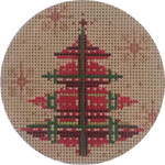 APX277 Red & Green Plaid Tree Alice Peterson 4″ ROUND 13 Mesh  !
