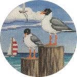 APX274 Seagulls Alice Peterson 4″ ROUND 18 Mesh  !
