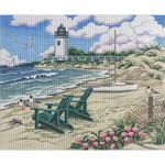 AP2817 Beach Scene with Lighthouse Alice Peterson 18 Mesh Design Size 10 X 8  !