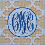 AA-795C White/Cream Quatrefoil Monogram 10x10  13 Mesh Associated Talents