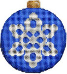 CT-1815 Snowflake on Blue Ball Ornament 3.25x3.25 18 Mesh Associated Talents