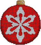 CT-1814 Snowflake on Red Ball Ornament 3.25x3.25 18 Mesh Associated Talents
