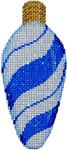 CT-1951B Blue Peppermint Swirl Light Bulb 2.25x4.75 18 Mesh Associated Talents