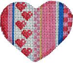 HE-663 Be Mine Stripe Mini Heart II 2.75x2.5 18 Mesh Associated Talents