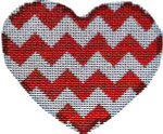 HE-830 Red/White Chevron Heart Lg. 3.5x3 18 Mesh Associated Talents