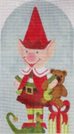 "HO1260 SANTA'S RED ELF 9"" tall, 18 Mesh Raymond Crawford Designs"