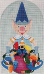 "HO1261 SANTA'S BLUE ELF 9"" tall, 18 Mesh Raymond Crawford Designs"