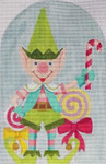 "HO1262 SANTA'S GREEN ELF 9"" tall, 18 Mesh Raymond Crawford Designs"
