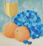 HO1355 Raymond Crawford Designs HYDRANGEA AND ORANGES 6 x 6.6, 18 Mesh