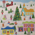 HO1408 CHRISTMAS VILLAGE 8 x 8, 18 Mesh Raymond Crawford Designs