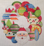 HO1362 Santa Wreath, 9 Diameter, 18 Mesh Raymond Crawford Designs