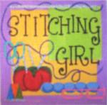 QT113 Stitching Girl 5 x 5, 18 Mesh Raymond Crawford Designs