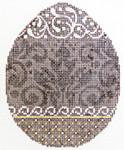 "KEA08-18 Chocolate Damask Egg   4"" x 5"", 18 Mesh  KELLY CLARK STUDIO, LLC"