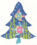 """KC-KCNT45-18 Tropical Fun Fish Tree 3.75"""" x 4.5"""" 18 Mesh With Stitch Guide and Embellishment Kit:  Includes wire, beads, felt, suede and other embellishments – no threadKELLY CLARK STUDIO, LLC"""