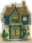 "KWV011-18 Village Bike & Clock Shoppe 6"" x 8.25"", 18 Mesh With Stitch Guide KELLY CLARK STUDIO, LLC"