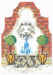 "KWV06-18 Lion Fountain 3.5"" x 4.75"", 18 Mesh With Stitch Guide KELLY CLARK STUDIO, LLC"