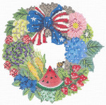 "KCW201-18 Summer Independence Wreath 5.5"" x 5"", 18 Mesh With Stitch Guide, Thread Kit, and Embellishment Kit KELLY CLARK STUDIO, LLC"