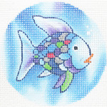 "BJ224 Rainbow Fish  3.25""RND 18 Mesh Lee's Needle Arts"