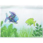 "WH1355  Rainbow Fish 16"" x 12"" 13 Mesh Lee's Needle Arts"