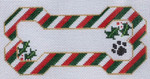 BP-13 BP DESIGNS Christmas Stripes Bone Ornament 6 x 3 Insert Your Dog's Name! 18 Mesh