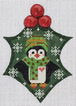 CH-WTP-16 Penguin Holly 3 ½ x 5 18 Mesh Danji Designs CH Designs