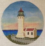 "7153 North Head Light – WA Ilwaco, Washington 4"" round, 18 mesh Purple Palm"