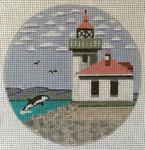 "7150 Lime Kiln Light – WA Friday Harbor, Washington 4"" round, 18 mesh Purple Palm"