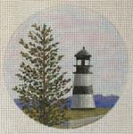 """7149  Cape Disappointment Light – WA   Ilwaco, Washington 4"""" round, 18 mesh Purple Palm"""