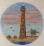 """7148 Port Bolivar Light – TX Port Bolivar, Texas 4"""" round, 18 mesh Purple Palm"""