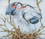 B306 Melissa Prince 10 x 10 Blue Herons Nesting