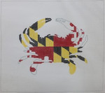 P104 Maryland Crab Pillow 12 x 12 18 Mesh Kristine Kingston Needlepoint Designs