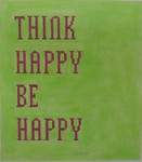 P100L Think Happy Be Happy - Lime Green with Hot Pink 8.5 x 9.5 13 Mesh Kristine Kingston Needlepoint Designs