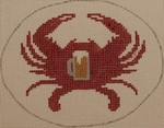 OCR100 Red Crab with Beer Mug 5 x 4 18 Mesh Kristine Kingston Needlepoint Designs