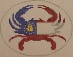 OCR102 Georgia State Flag Crab 5 x 4 18 Mesh Kristine Kingston Needlepoint Designs