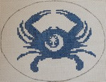 OCR105 South Carolina State Flag Crab  5 x 4 18 Mesh Kristine Kingston Needlepoint Designs