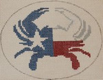OCR106 Texas State Flag Crab 5 x 4 18 Mesh Kristine Kingston Needlepoint Designs