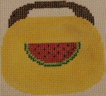 OBB109 Watermelon on Yellow 3.5 x 3.5 18 Mesh Kristine Kingston Needlepoint Designs