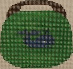 OBB108a  Blue Whale on Kelly Green 3.5 x 3.5 18 Mesh Kristine Kingston Needlepoint Designs