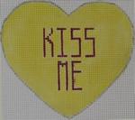CH100 Conversation Heart - Kiss Me on Yellow 3.75 x 3.5 18 Mesh Kristine Kingston Needlepoint Designs
